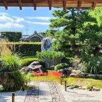 願成寺の山門からの桔梗と彼岸花